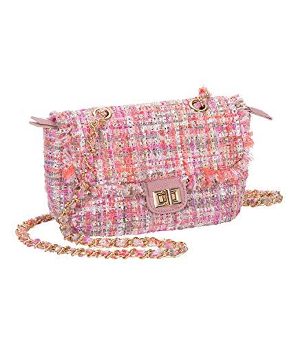 SIX Mini-Bag in rosa Tweed, Umhängetasche, Goldfarbene Kette (539-108)
