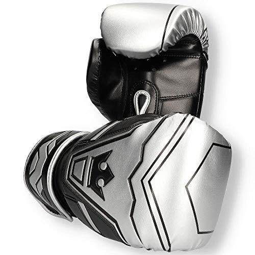 Buddha Fight Wear Guantes de Boxeo Future Plata-Negro 12 Onz