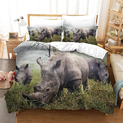 Nashorn Microfaser 150x200cm Bettbezug Set und 2 mal 80x80cm Kissenbezug 3 teilig,Tiere Grasland Afrika Niedlich Bettwäsche Set mit Reißverschluss