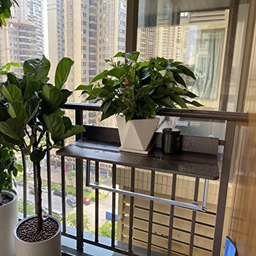 Balcón Plegable Mesa Auxiliar de Barandilla de Balcón, Escritorio Plegable para Colgar...