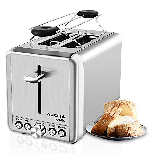 MIC Toaster 2 Scheiben Toaster mit Brötchenaufsatz Testsieger Edelstahl 6 Einstellbare Bräunungsstufen 4 Funktionen Abbrechen/Bagel/Aufwärmen/Auftauen Brot Toaster High-Lift, Silber