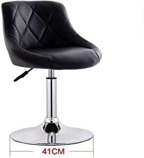 Seat Chair Embedded Solid Wood Plate 41Cm Bar Chair Chassis Bar Chair Leatherette Sponge Cushion Can Lifting 360 Swivel Chair Bar Household Restaurant Barstool 11.20 (Color : Black)