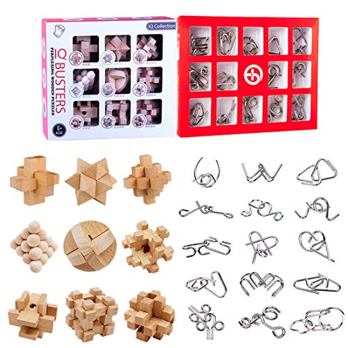 15000P 24St. Metall Knobelspiele Set Holz Rätsel Brainteaser IQ Spiel Knifflige Puzzle 3D Denkspiel Logikspiele Adventskalender Inhalt Geduldspiele für Kinder und Erwachsene, Lösungen sind dabei