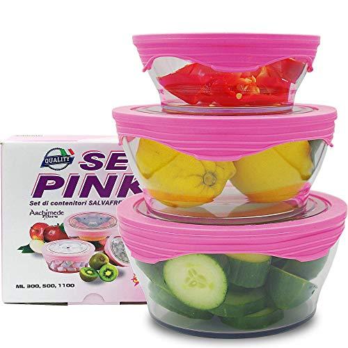 Set Pink Boites Alimentaires Couvercles Silicone Hermétique Conservation Aliments avec Couvercles Congélateur Lavage Lave Vaisselle Microonde Stockage des Aliments Hermétiques - Lunch Box
