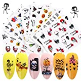 JMEOWIO Halloween Nail Stickers Day of the Dead Nail Art Accessories Decals 24 Sheets Ghost Skull Water Transfer Nail Art Stickers for Halloween Party Supply Fingernails Toenails Decorations (Type 2)