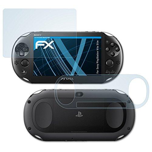 atFoliX Schutzfolie kompatibel mit Sony PlayStation Vita Slim Folie, ultraklare FX Displayschutzfolie (3er Set)