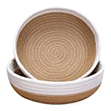 2-Pack Small Cotton Rope Trays | Woven Baskets Bowl Containers for Crafts, Keys | Shallow Desk Basket Table Top Home Decor and Catch-All for Shelf and Coffee Table (White & Brown)