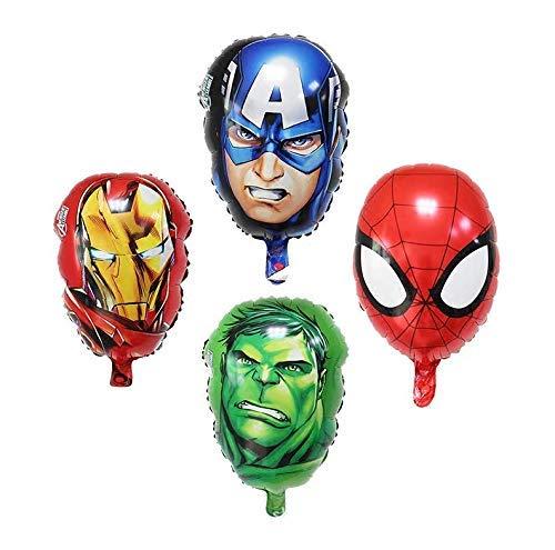 Paquete de 4 fiesta de cumpleaños de superhéroes Mylar Foil Balloon Avengers Superhéroe Suministros de fiesta de cumpleaños Decoraciones de fiesta (Spiderman/Ironman/Hulk/Capitán América)