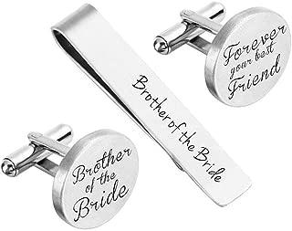 ZUNON Cufflinks Wedding Engraved Groom Groomsman Father of The Bride Best Man Tie Clip Tack Bar