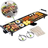 COSTWAY Electric XXL Teppanyaki Table Grill, 90 x 23CM Non-Stick Griddle with Adjustable Temperature, BBQ Hot Plate Barbecue - Spatulas and 2 Rings Include for Indoor Outdoor