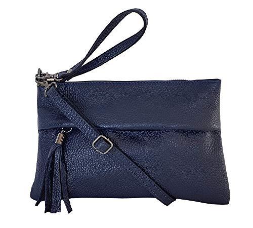 zarolo Damen Tasche, kleine Umhängetasche aus echtem Leder, Cross Body, Schultertasche, Leder Clutch, Leder Abendtasche, italienische Handarbeit (Dunkel Blau)