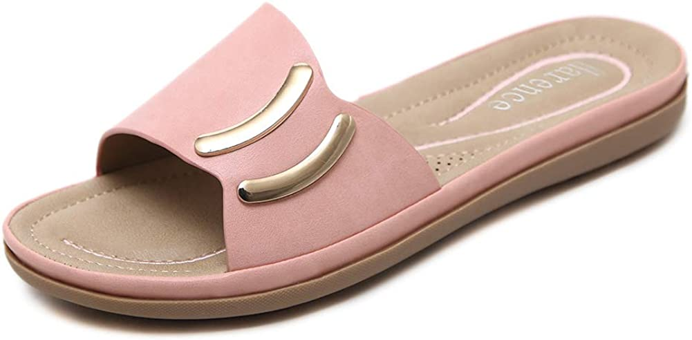 Slide Sandals for Womens Summer Beach Flats Shoes Slip On Open Toe Indoor Outdoor Slippers