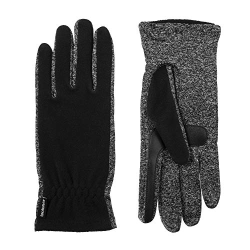 isotoner Women's Unlined Water Repellant Touch Screen Gloves, Black, One Size