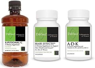 Davinci Laboratories Hair Growth Boosting Trio Bundle - Biotin, Vitamin C, A, D, K (3 Items)