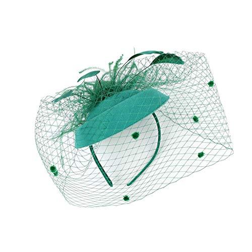 CANDLLY Stirnband Damen, Kopfbedeckung Zubehör Kopfschmuck Federn der Frauen Fascinators Hut Haarnadel Cocktail Headwear Pillbox Hut(Grün,One Size