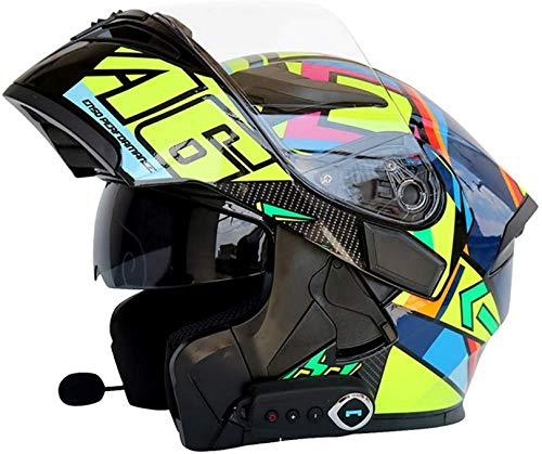 QDY Bluetooth Modular Motorcycle Helmets,Full Face Flip up Integrated Helmets with Dual Visors Built-in Speaker Headset Microphone for Automatic Answering Dot ECE Certification