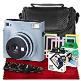 Fujifilm Instax SQ1 Instant Camera (Glacier Blue) w/ Deluxe Accessories Bundle Includes Padded Carrying Case, Instax Square Instant Film (20 Exposures), Square Black Instant Film (10 Exposures) & More
