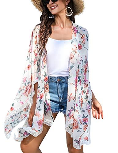 Irevial Cárdigan Kimonos Mujer Camisolas y Pareos Playa Elegante Suelta Chaqueta de Gasa Manga 3/4 Ropa de Baño Cover Up Encaje Albaricoque Claro Estampado, XL