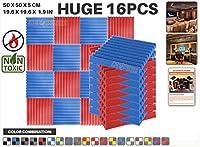 エースパンチ 新しい 16ピースカラーコンビセット赤と青 500 x 500 x 50 mm ウェッジ 東京防音 ポリウレタン 吸音材 アコースティックフォーム AP1134