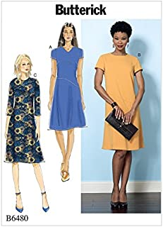 Butterick Ladies Easy Sewing Pattern 6480 Fitted Dresses with Hip Detail