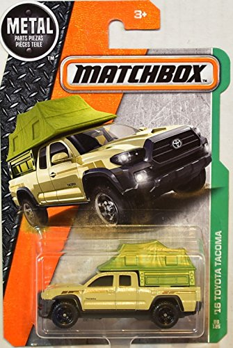 Matchbox 2017 '16 Toyota Tacoma 86/125 Scale MBX Explorers Die-cast Vehicle, Tan with Green Tent Camper