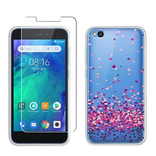 LJSM Funda para Xiaomi Redmi Go + Protector de Pantalla Templado Film Película Protectora - Transparente Carcasa Silicona TPU Suave Caso Case para Xiaomi Redmi Go (5.0