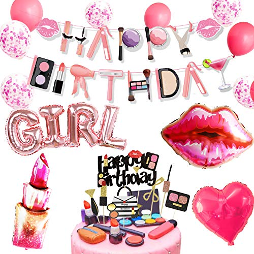 JeVenis 17 Stück Make-up Geburtstag Party Dekorationen Spa Geburtstag Banner Spa Party Dekoration Salon Geburtstag Dekoration
