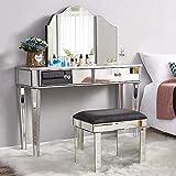 Espejo de vestir juego de mesa con 2 cajones de muebles de vidrio, tocador, tocador, dormitorio, se puden escritorio espejo y taburete,Whole Dressing Table Set