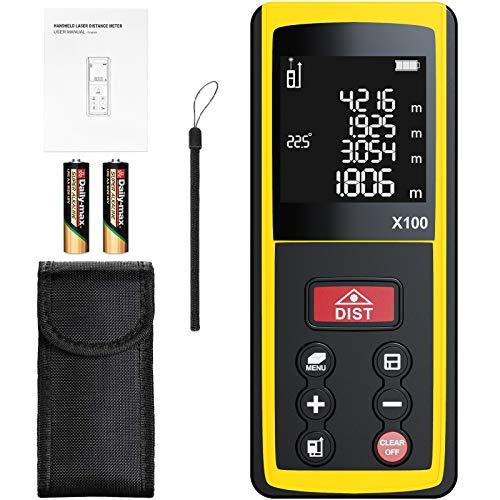 Medidor Láser de Distancia, papasbox Medidor Láser 100m 328ft con Sensor de Ángulo Electrónico,99 Datos, Mida Rápidamente Distancia, Área y Volumen, LCD Pantalla Reiluminada de 4 Líneas IP54