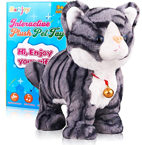 Pattern Gray Robot Cat Robotic Cat Cat Kitty Toy Plush Cat Stuffed Animal Interactive Cat  Meow Kitten Touch Control Electronic Cat Pet Animated Toy Cats for Girls Baby Kids L:12quot