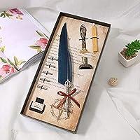 Cafshinu ヴィンテージ万年筆羽ペンライティングインクセットステーショナリー事業所は5ペン先の結婚式のギフトのペンボックスギフトボックス用品