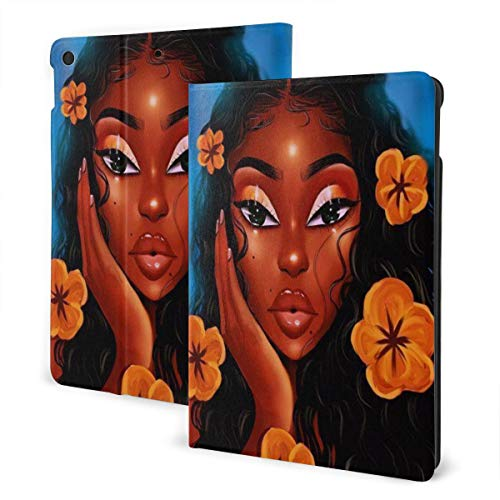 Afro Black Girl with Flower African American Case for IPad 7th Generation 10.2 Inch Case 2019 TPU Protective Stand Cover with Auto Sleep/Wake for IPad 10.2' Tablet