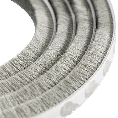 UOOOM 5m winddicht Staubdicht Tür Fenster Dichtungsband selbstklebend Bürstenleiste 9x 5 mm (Grau)
