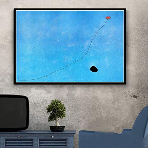 QINGRENJIE Kunst Gemälde Joan Miro Moderne Abstrakte Bild Retro Poster Und Drucke Wandkunst Leinwand Wandbilder Für Wohnzimmer Wohnkultur 50 * 70 cm Ohne Rahmen