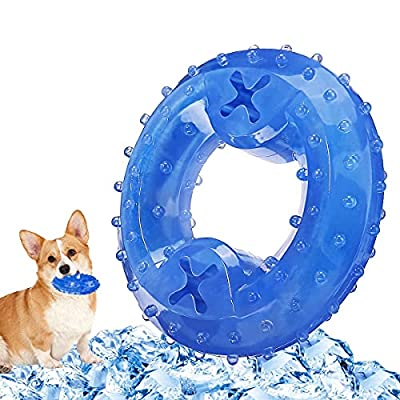 FOCUSPET Dog Chew Toys Cooling Freeze Puppy Teething Rings Arctic Durable Teething Toys for Dogs Fit with Treats Non-Toxic Tooth Cleaning Pet Toys Perfect Training Pool Chew Ring Toys Fit with Treats