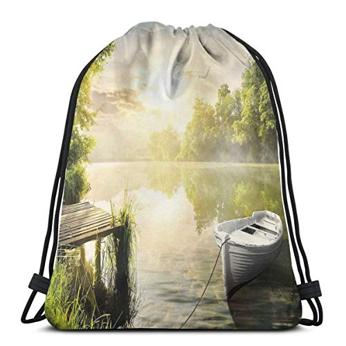 Drawstring Shoulder Backpack Travel Daypack Gym Bag Sport Yoga,Boat by The Foggy Lake Deck Dreamy Forest In The Morning Country Style Image,5 Liter Capacity,Adjustable.