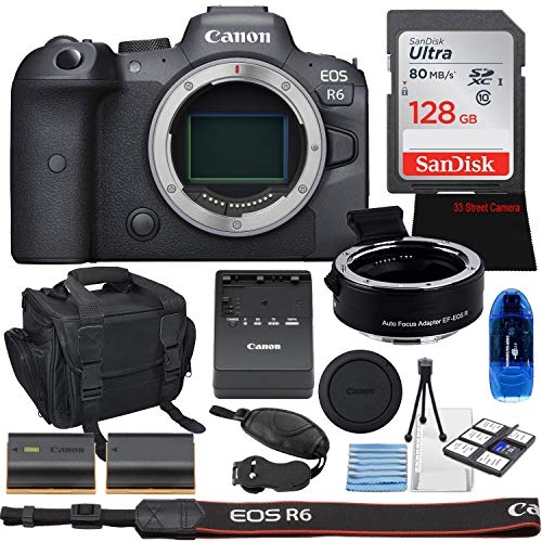 Canon EOS R6 Mirrorless Digital Camera (Body Only) Bundle + EOS R Adapter, 128GB High Speed Memory & Accessory Kit
