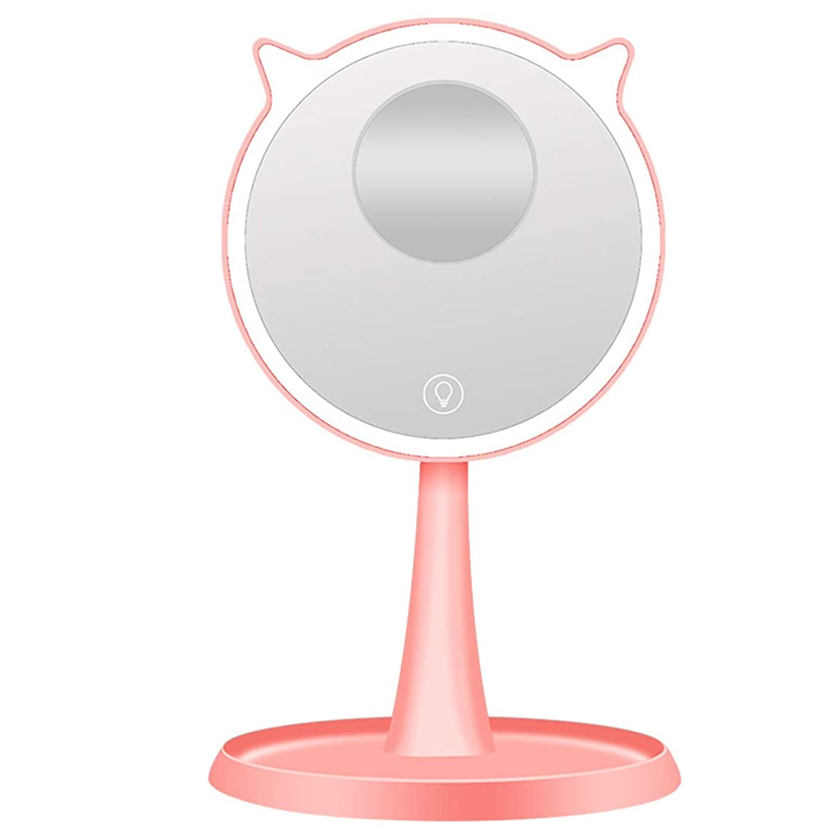 モトリー因子作りますGloriza 化粧鏡 LEDライト付き 10倍拡大鏡 メイクアップミラー タッチパネル?45度回転 収納スペース付き USB充電式 可愛い 卓上ミラー 鏡 (ピンク)