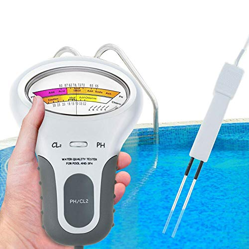 Spa and Pool Water Tester | PH Pens | Water Quality Digital Tester | Instant Water Analysis Monitor PH & Chlorine Level CL2 Meter for Swimming Drinking Water Quality 2 in 1 Testing Meter with Probes