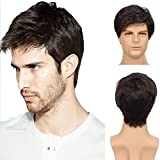 Kaneles Men's Wigs Black Short Layered Syntheric Replacement Cosplay Hair Costume Party Daily Wear Wigs with Cap