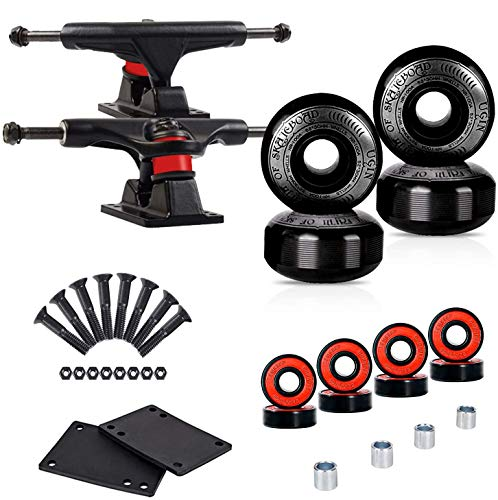 LOSENKA Skateboard Wheels Set,Include Skateboard Trucks, Skateboard Wheels 52mm, Skateboard Bearings, Skateboard Pads, Skateboard Hardware 1