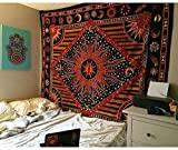 Tapestry Wall Hanging Orange Burning Sun Tapestry Sun & Moon Tapestry Hippie Bedding Trippy Tapestry Indian Mandala Wall Art Hippie Wall Tapestry Hanging (54 X 60 inches, Orange Burning Sun)