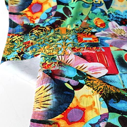 TOLKO Baumwollstoff | kräftige bunte ÖkoTex Farben Baumwoll-Nesselstoff Kleiderstoff Dekostoff Vorhang-Stoff Bezugsstoff | Stoffe Meterware 145cm breit | 50cm (Bunt Designer)