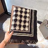 zami chal otoño e invierno ribete geométrico femenino bufanda cálida bufanda de lana-negro