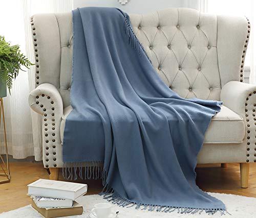 Überwurfdecke mit Fransen Kuscheldecke für Wohndecke Tagesdecke Sofadecke/Couchdecke Sofaüberwurf Decke 130x152cm