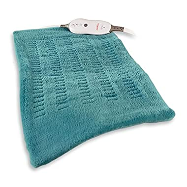 Sunbeam King-Size MicroPlush/Soft Touch Electric Heating Pad with Digital LED Controller, 4 Heat Settings, Moist/Dry Heat, Machine Washable Cover, 12  x 24 , Teal