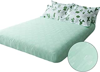 VCLIFE Queen Floral Cactus Print Bed Sheet with Deep Pocket, 100% Cotton 1 Piece Green Plant Fitted Sheet for Boy Girl Woman Man Teens, Wrinkle, Fade, Stain Resistant, Hypoallergenic