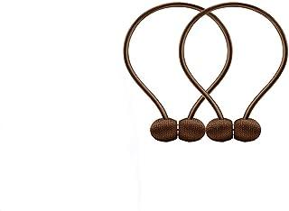 Lmán para Cortinas,Cortina Magnética Tiebacks Clips de Hebilla Tie Band Cortina Tejida Holdbacks Home Office Drapeado Decorativo, 2 Piezas,Color Chocolate