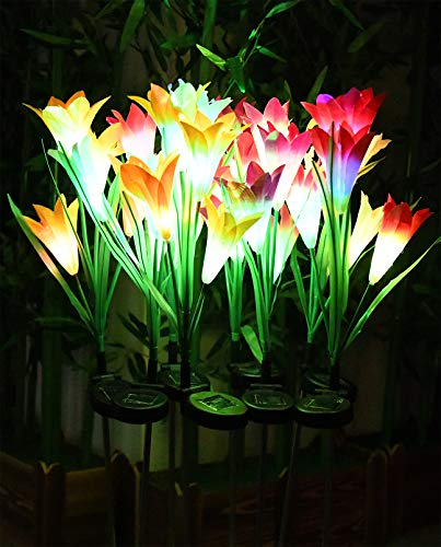 Solar Flower Lights, BOOTOP 8 Pack Solar Garden Lights with 32 Bigger Lily Flowers, Outdoor Solar Flowers, Solar Lily Flower Lights for Garden Yard Pathway Decoration, Waterproof 7 Color Changing