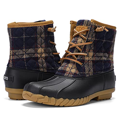 STQ Womens Winter Duck Boots Fashion Side Zipper Snow Boots Waterproof Ankle Booties Navy Plaid, 10 US